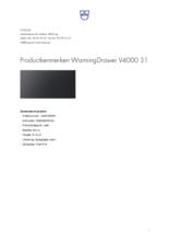 Product informatie V-ZUG warmhoudlade inbouw WarmingDrawer V4000 31 zwart glas