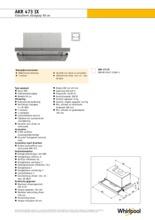 Product informatie WHIRLPOOL afzuigkap vlakscherm AKR473IX