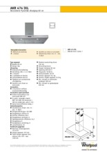 Product informatie WHIRLPOOL afzuigkap wand rvs AKR474IXL
