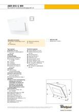 Product informatie WHIRLPOOL afzuigkap wand wit AKR855GWH