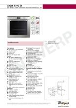 Product informatie WHIRLPOOL inductie-oven AKZM8790IX