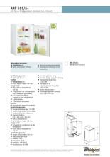 Product informatie WHIRLPOOL koelkast inbouw ARG451/A+