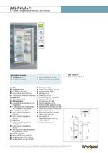 Product informatie WHIRLPOOL koelkast inbouw ARG749/A+/1
