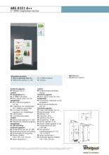 Product informatie WHIRLPOOL koelkast inbouw ARG8151 A++