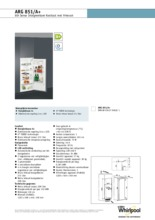Product informatie WHIRLPOOL koelkast inbouw ARG851/A+
