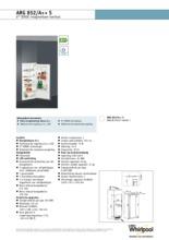 Product informatie WHIRLPOOL koelkast inbouw ARG852/A++ S