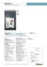 Product informatie WHIRLPOOL koelkast inbouw ARG861 A+