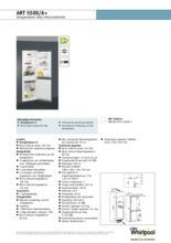 Product informatie WHIRLPOOL koelkast inbouw ART5500/A+