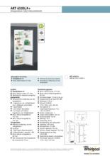 Product informatie WHIRLPOOL koelkast inbouw ART6500/A+