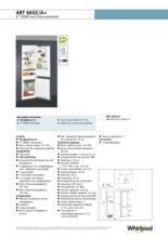 Product informatie WHIRLPOOL koelkast inbouw ART6602/A+