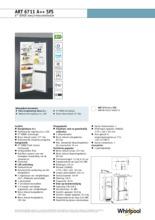 Product informatie WHIRLPOOL koelkast inbouw ART6711 A++ SFS