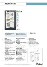 Product informatie WHIRLPOOL koelkast inbouw ART9811 A++ SFS