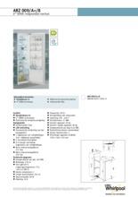 Product informatie WHIRLPOOL koelkast inbouw ARZ009/A+/8