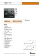 Product informatie WHIRLPOOL kookplaat gas-op-glas GOR6414NB