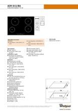 Product informatie WHIRLPOOL kookplaat inductie ACM813BA