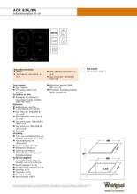 Product informatie WHIRLPOOL kookplaat inductie ACM816BA