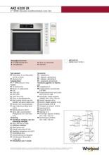 Product informatie WHIRLPOOL oven inbouw AKZ6220IX