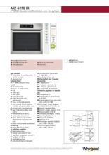 Product informatie WHIRLPOOL oven inbouw AKZ6270IX