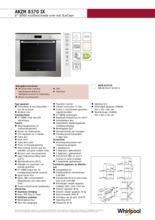 Product informatie WHIRLPOOL oven inbouw AKZM8370IX