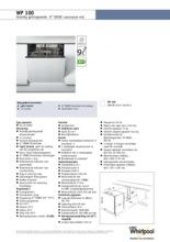 Product informatie WHIRLPOOL vaatwasser inbouw WP100