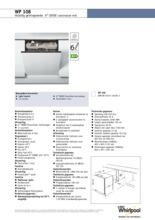 Product informatie WHIRLPOOL vaatwasser inbouw WP108