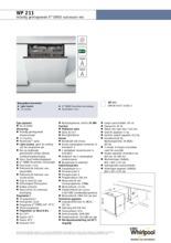 Product informatie WHIRLPOOL vaatwasser inbouw WP211