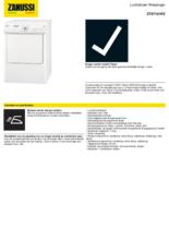 Product informatie ZANUSSI droger afvoer ZTE7101PZ