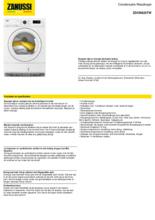 Product informatie ZANUSSI droger condens ZDCN823TW