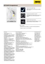 Product informatie ZANUSSI droger condens ZDP7202PZ