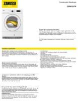 Product informatie ZANUSSI droger condens ZDPN722TW