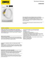 Product informatie ZANUSSI droger warmtepomp ZDHN875SW