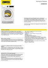 Product informatie ZANUSSI droger warmtepomp ZDHN976TW