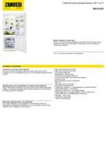 Product informatie ZANUSSI koelkast inbouw ZNLN14FS