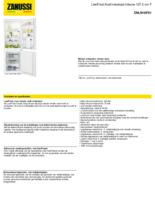 Product informatie ZANUSSI koelkast inbouw ZNLN16FS1
