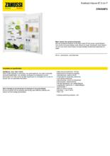 Product informatie ZANUSSI koelkast inbouw ZRAE88FS