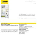 Product informatie ZANUSSI koelkast inbouw ZTAN14FS1