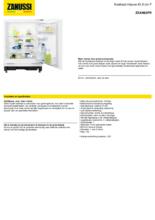 Product informatie ZANUSSI koelkast onderbouw ZXAN82FR