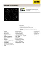 Product informatie ZANUSSI kookplaat inductie ZEI6840FBA
