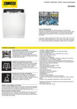 Product informatie ZANUSSI vaatwasser inbouw ZDLN6631