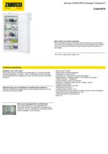 Product informatie ZANUSSI vrieskast ZUAN19FW