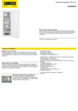 Product informatie ZANUSSI vrieskast ZUAN22FW