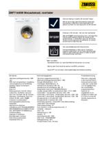 Product informatie ZANUSSI wasmachine ZWF71440W