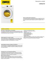 Product informatie ZANUSSI wasmachine ZWFN844TW