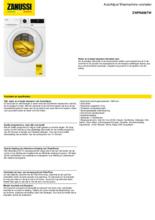 Product informatie ZANUSSI wasmachine ZWFN866TW
