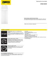 Product informatie ZANUSSI wasmachine bovenlader ZWQ61265NW