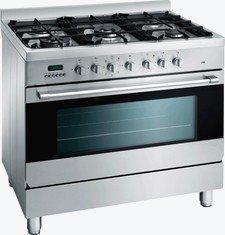 Fornuis met enkel oven en gas kookgedeelte