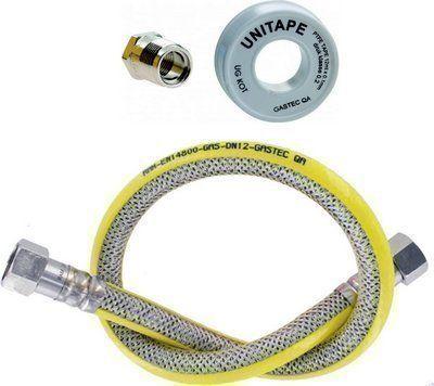 Gas aansluitpakket bestaande uit rvs veiligheidsslang, connectie en gas tape