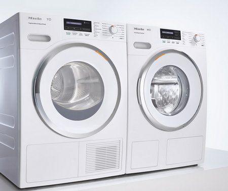 Foto van het nieuwe MIELE WhiteEdition design, beschikbaar op de wasmachine en drogers