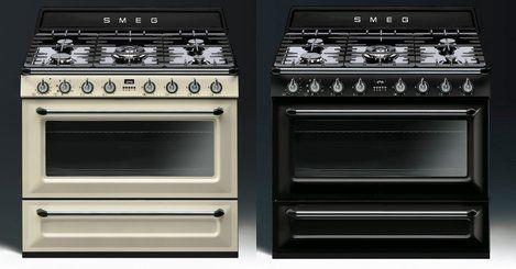 De nieuwe TR90 serie fornuizen van SMEG zijn leverbaar in creme en zwart