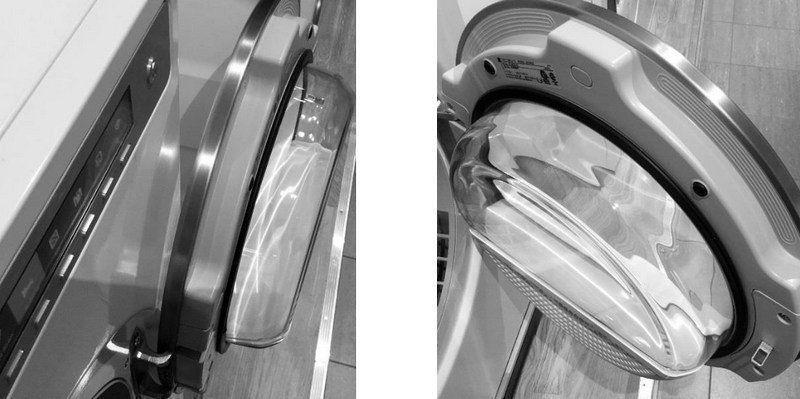 De nieuwe glazen deur op de nieuwe drogers kan 180 graden open en heeft een geïntegreerde greep